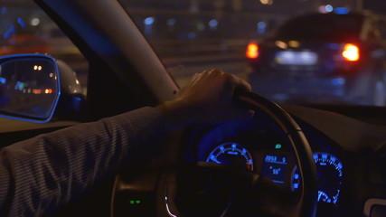 The man drive car inside view, control panel, wheel