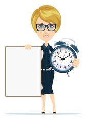 student with a poster and an alarm clock, vector illustration