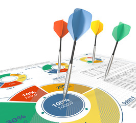 Target Groups.Colorful Darts on infographics with pie charts.