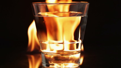Flaming fire and glass