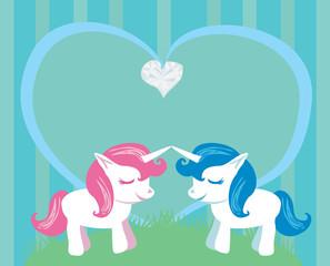 Couple of cartoon unicorns in love