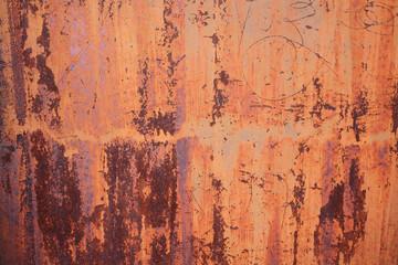 old stain orange zinc wall