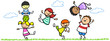 Lachende Kinder in Bewegung in der Natur - 79243359