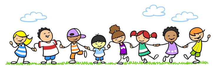 Glückliche Kinder Hand in Hand im Sommer
