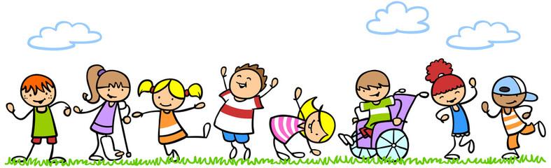 Kinder mit und ohne Behinderung tanzen und spielen