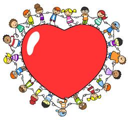 Viele Kinder halten Händ um ein rotes Herz