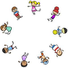 Multikulturelle Kinder lachen im Kreis