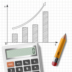 calculator, pencil and graph on notebook sheet