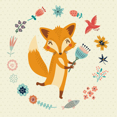 Cute Foxy with flowers