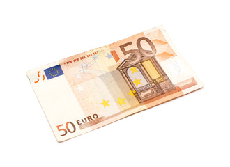 50 euro banknote isolated on white