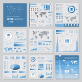 big data infographics set elements, flat style poster