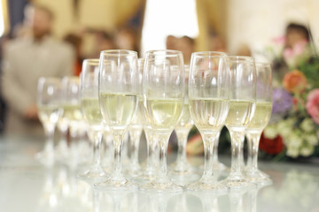 wedding reception with champagne glasses