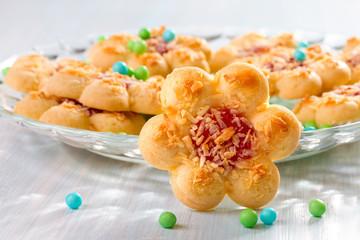 Cookies background n the shape of flowers.