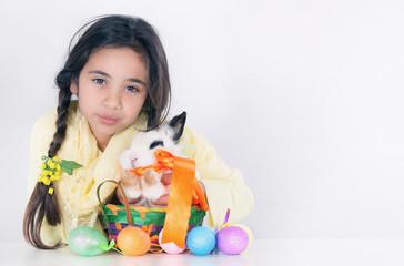 Little girl and sweet orange fluffy