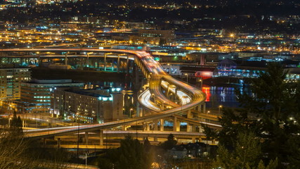 Time Lapse of Traffic Light Trails in Portland OR at Night
