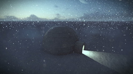 Igloo isolated in the snow at night