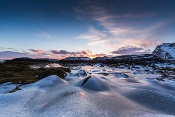 Frozen Ice moulds in coastal shore