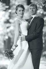 monochrome black and white photo of the wedding the bride