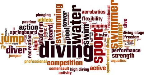 Diving word cloud concept. Vector illustration