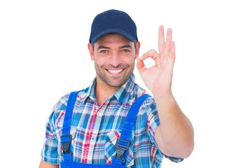 Portrait of smiling repairman gesturing okay