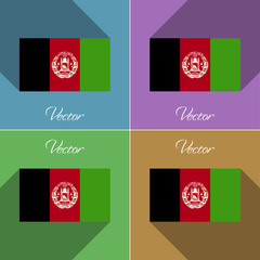 Flags Afghanistan. Set of colors flat design and long shadows