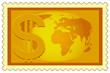 Dollar and Globe on stamp