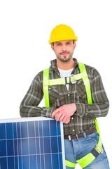 Happy handyman with solar panel