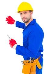 Handyman holding spanner