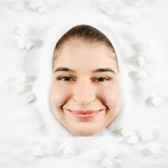 Woman and white sugar