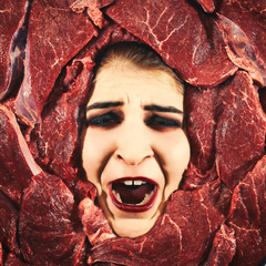 Woman and beef