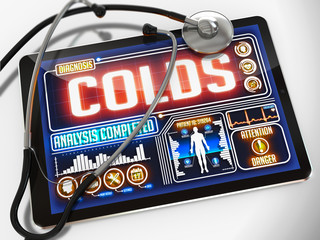 Colds on the Display of Medical Tablet.