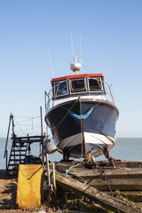 Fishing boat on the beach in Deal, Kent, UK