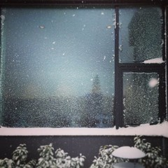 Nice snowy Window with a Landscape reflection