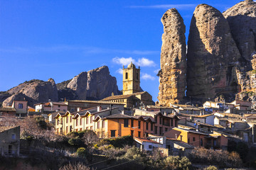 village and rocks of Aguero, Huesca, Aragon, Spain