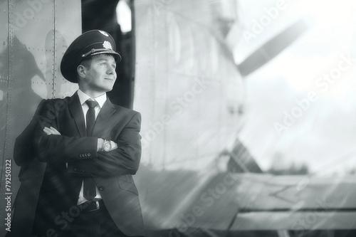Leinwanddruck Bild pilot vintage aircraft