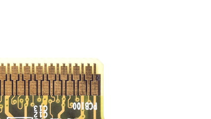 Close up of circuit board moving right on white background