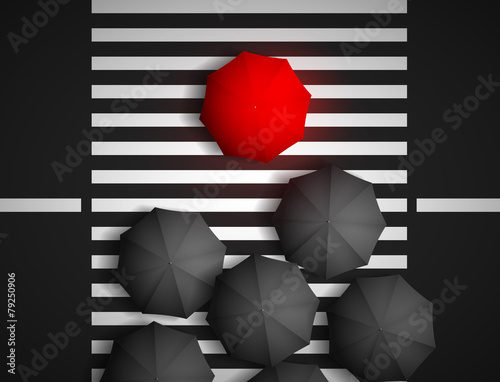 red umbrella and black umbrellas on a background of a pedestrian - 79250906