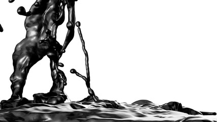 Black Oil with alpha. Slow motion.