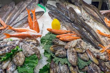 Fresh fish at the Boqueria market in Barcelona