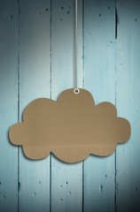 Composite image of hanging cloud tag