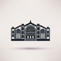 Railway station building. Icon in the flat style.