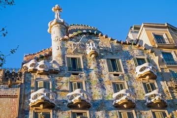 The facade of the Casa Batllo in Barcelona, Spain