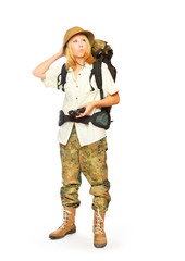 Young explorer with backpack going to holidays.