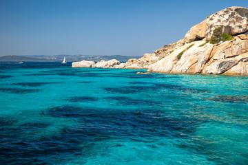 Clear turquoise water of Cala Corsara in Sardinia