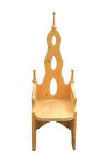 A Solid Wooden Chair with a High Back.