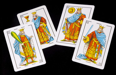 Spanish cards in black background