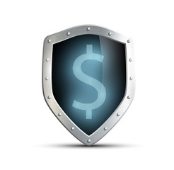 metal shield with the image of dollar. isolated on white backgro