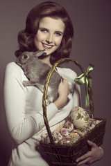 easter woman with lovely rabbit