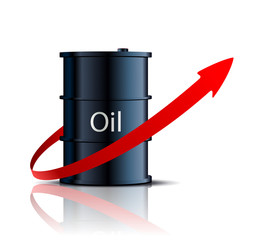 barrel of oil and red arrow