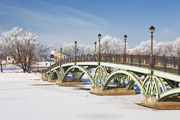 Bridge at the Lower pond in the park Tsaritsyno, Moscow, Russia